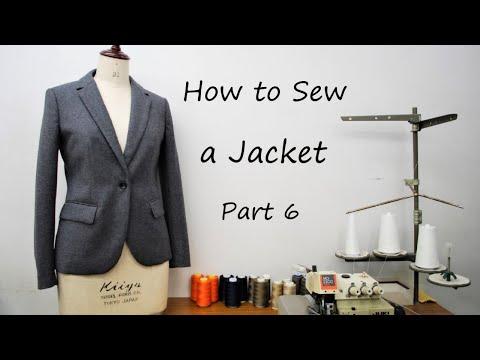 ジャケットの作り方・縫い方 Part6 「見返し 後ろベンツ 表裏中綴じ」 How to sew a jacket tutorial