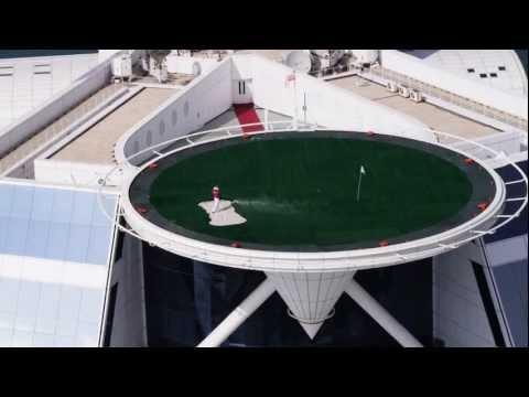 Rory McIlroy on the Burj Al Arab Helipad
