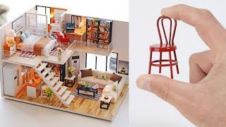 Gambar cover Tiny House, Tiny Furniture! - 3 DIY Miniature Dollhouse Build Videos That Are Totally Awesome