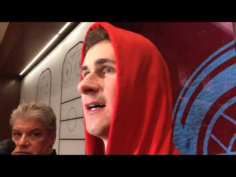 Red Wings' Dylan Larkin talks about his fight