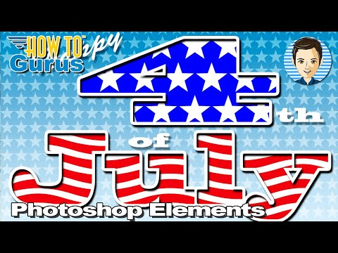 Photoshop Elements Outline Text: 4th of July Card outlined text effects  2018 15 14 13 12 11 Tutorial