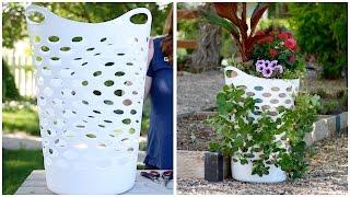 Laundry Basket Turned Strawberry Planter