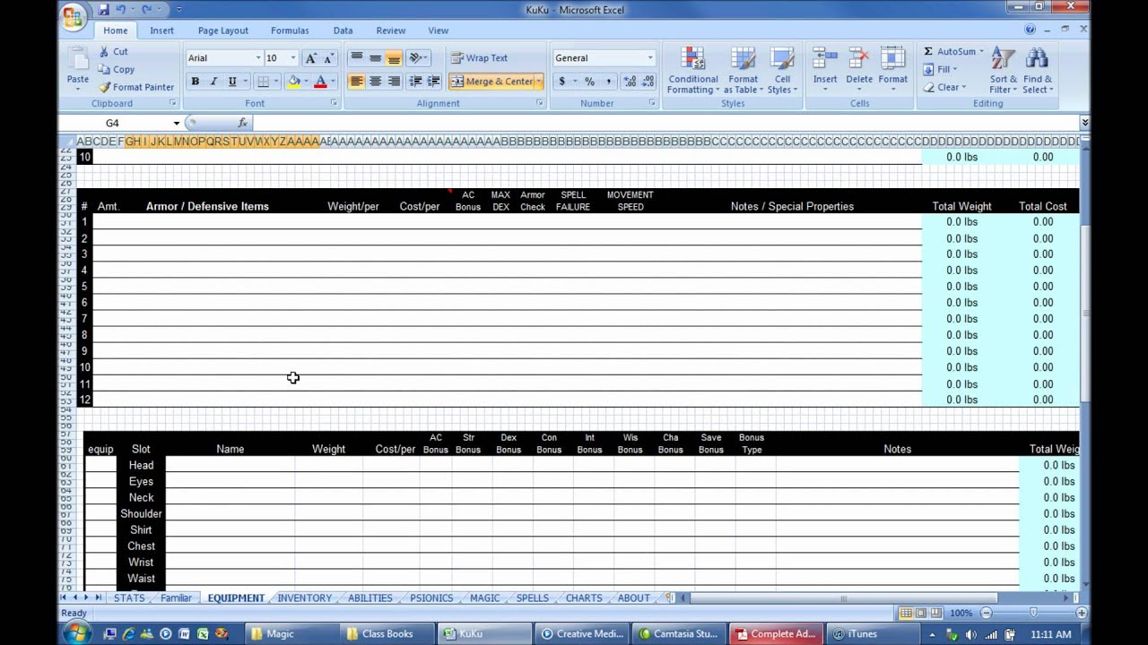 dnd 3 5 character sheet excel