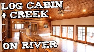 Log Cabin w Creek in Kentucky - Small house Log home prepper survivalist