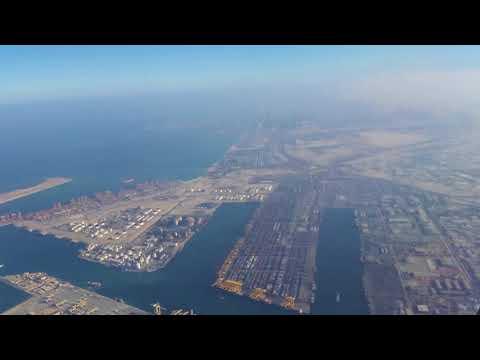 Dubai from the sky - Jebel Ali free port, Dubai Marina, Palm Jumeirah