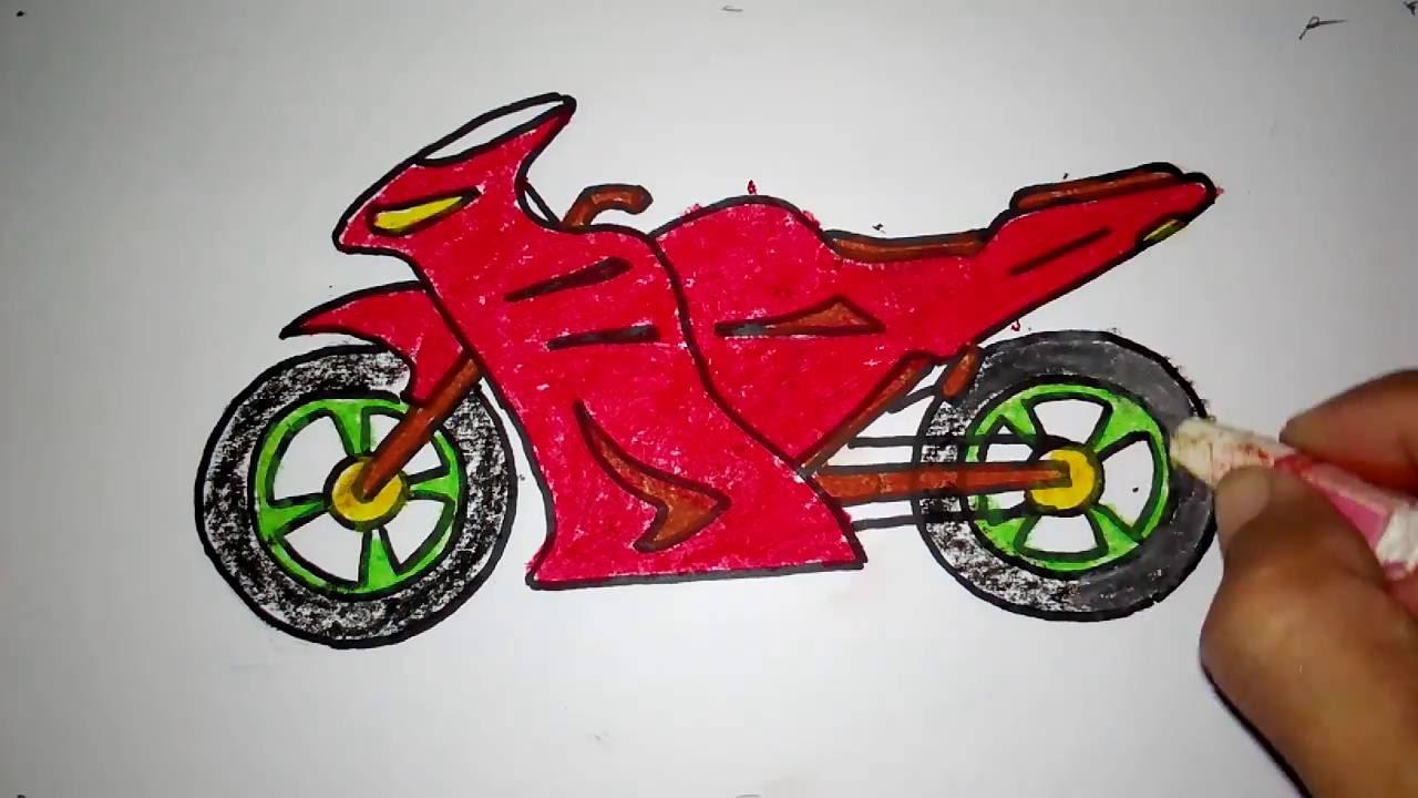 cara menggambar sepeda motor boy anak jalanan - YouTube