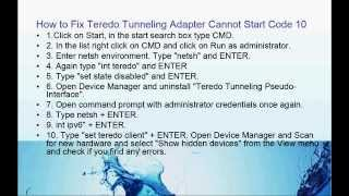Teredo Tunneling Cannot Start Code10
