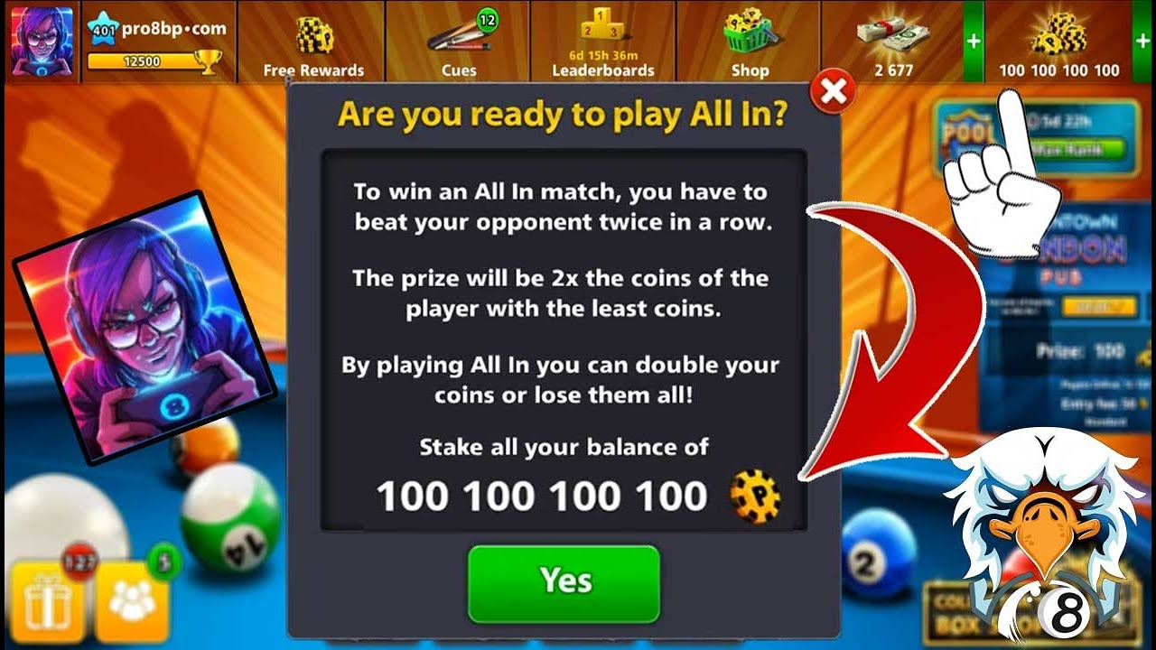 8 ball pool No Hack Coins 100100100100 😂 All in