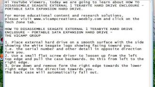 SEAGATE EXTERNAL 1 TB HARD DRIVE DISASSEMBLY: PORTABLE SATA EXPANSION HARD DRIVE - THE VICAMP GROUP