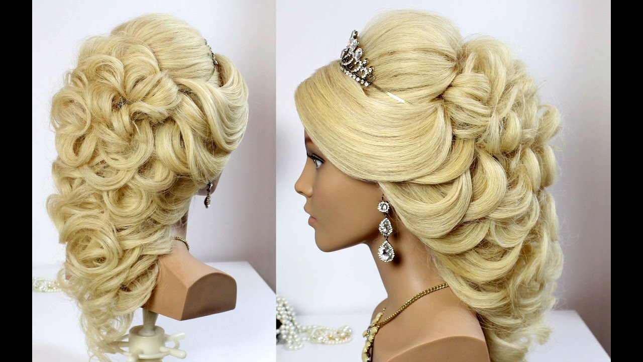 wedding prom hairstyle for long hair. tutorial