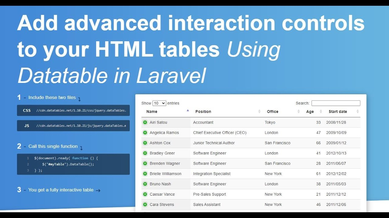How to Setup jQuery Datatable into Laravel