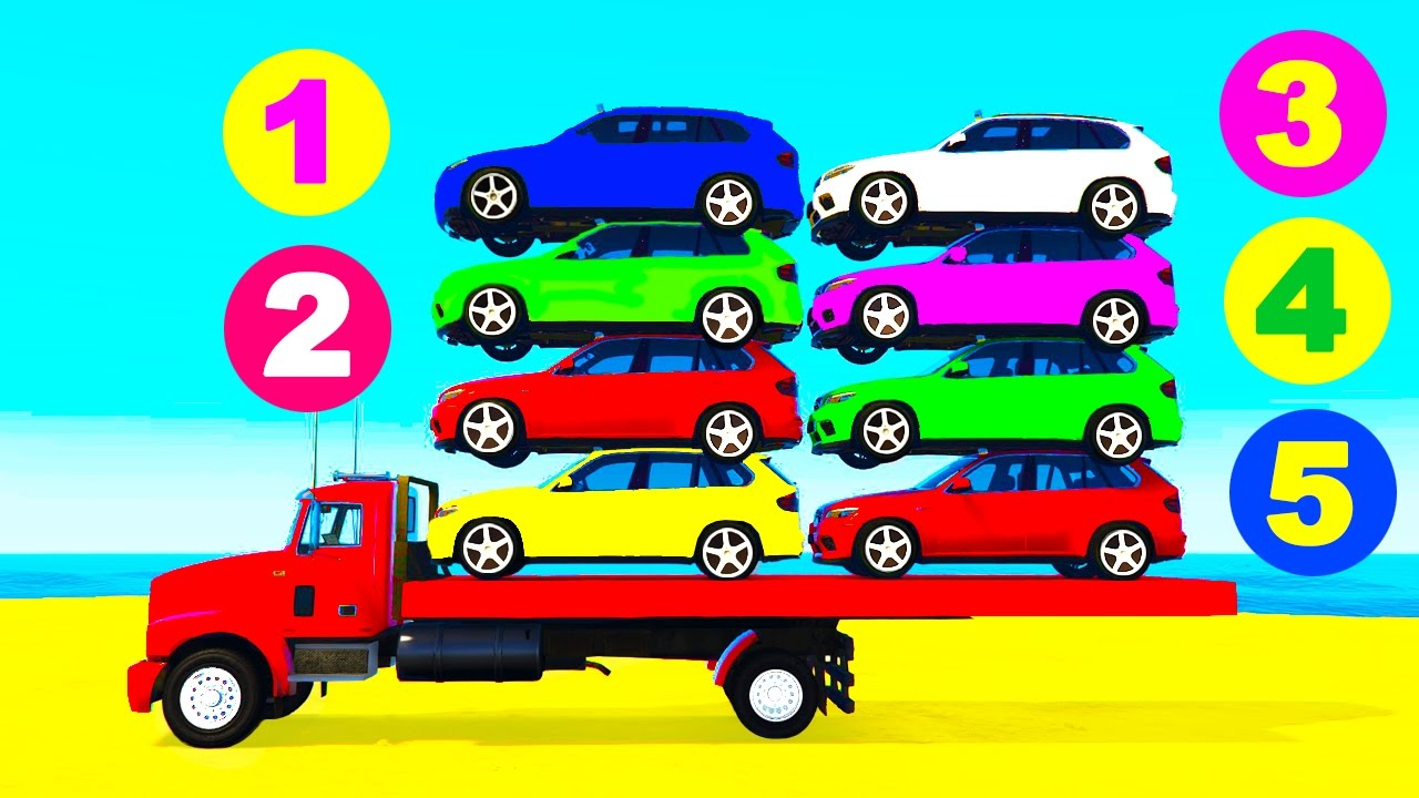Cars On Truck Learn Colors W Color Cars For Kids Spiderman Cartoon For Kids Nursery Rhymes Youtube