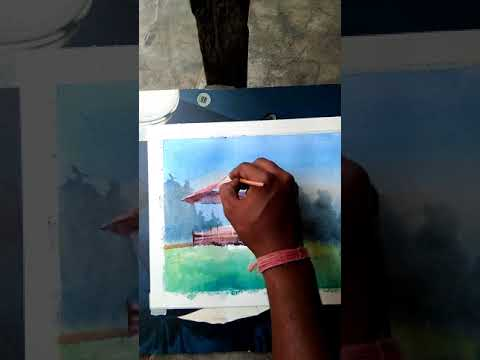 Landscape Water color painting demonstration