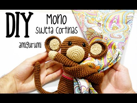 Diy mono sujeta cortinas amigurumi crochet ganchillo for Cortinas de ganchillo