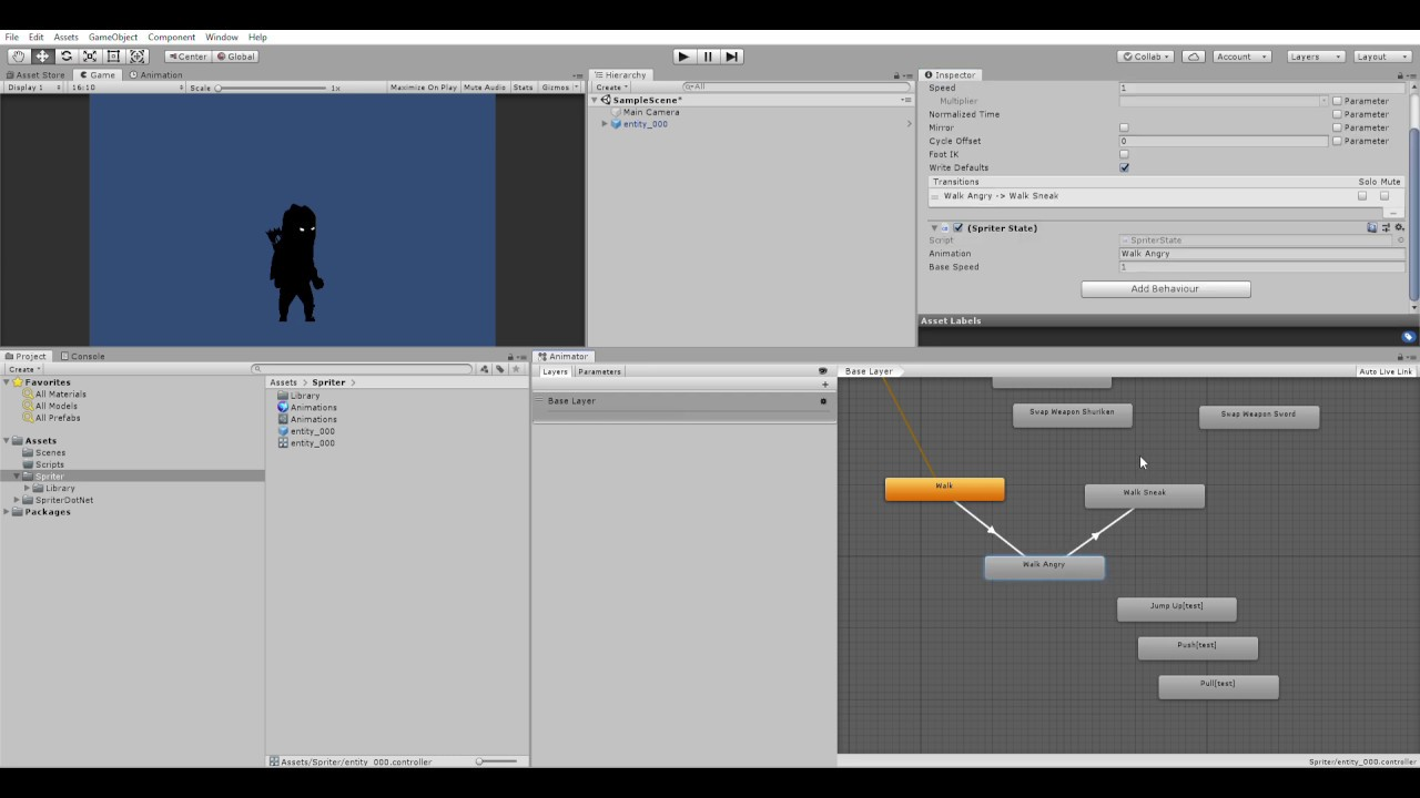 Spriter to Unity Animator Test