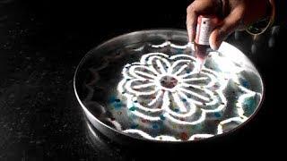 Easy kolam on water | Navaratri rangoli Diwali special | golu decoration ideas | Sudha Balaji