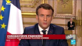 Coronavirus pandemic: french president emmanuel macron makes televised address