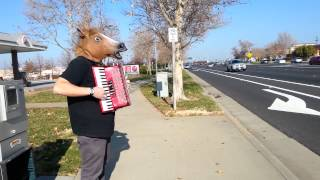 Horsing around with the accordion in front of the Roseville Galleria.