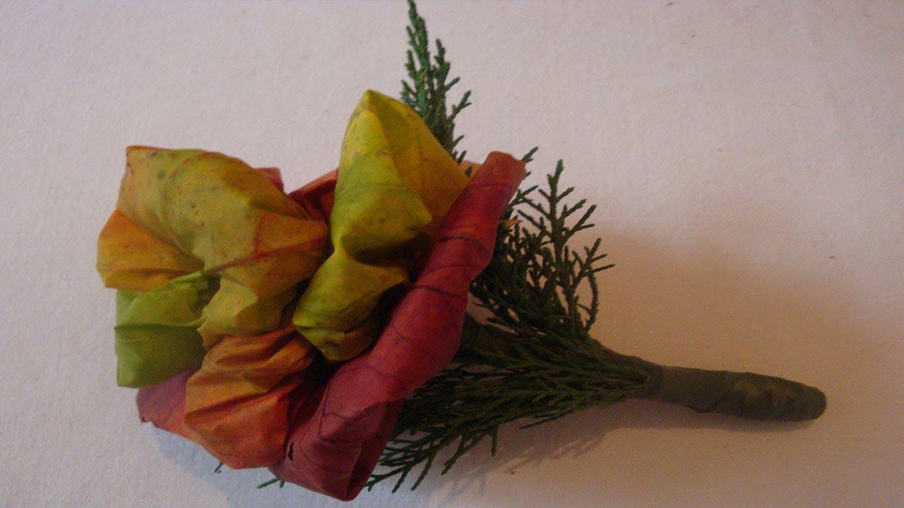 Bastelideen im Herbst: Herbstrose aus Herbstlaub binden ...