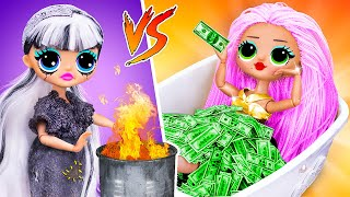 Rich Doll vs Broke Doll / 10 DIY LOL Surprise Ideas