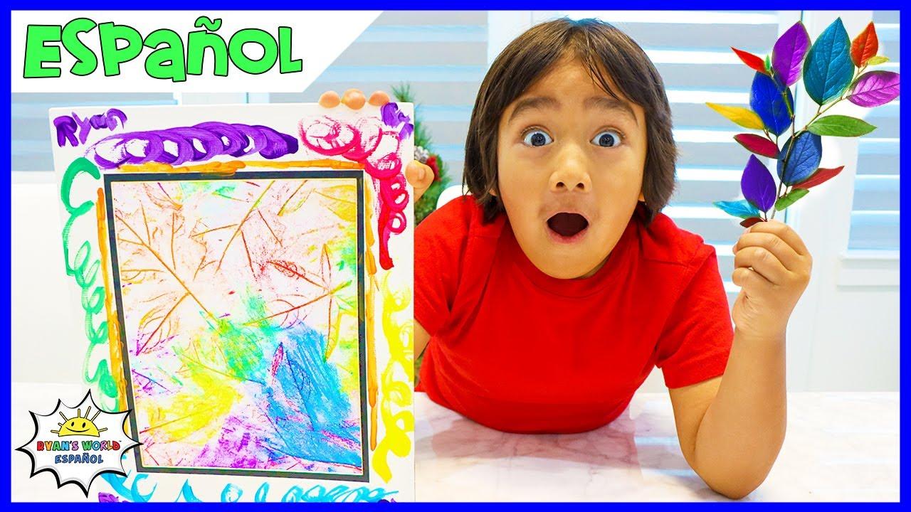 Cómo hacer bricolaje para colorear hojas frotando arte con Ryan's World