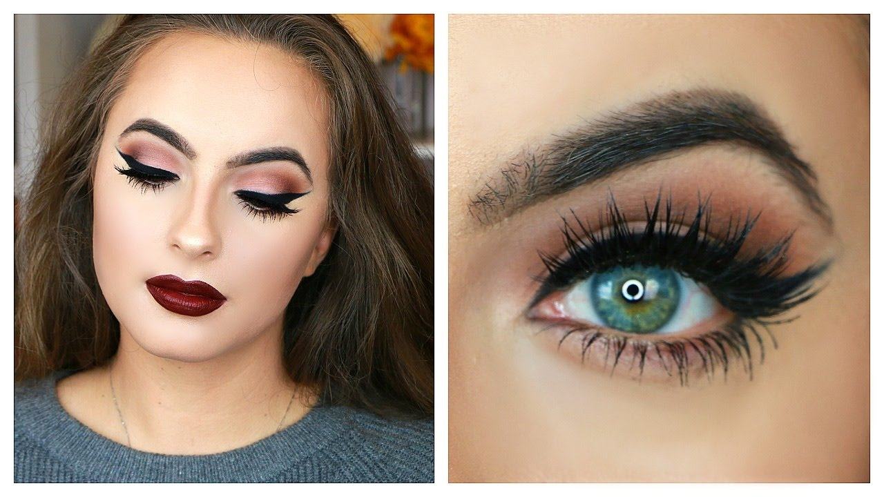 Classic Fall Makeup Tutorial   Matte Eyes And Dark Lips - YouTube