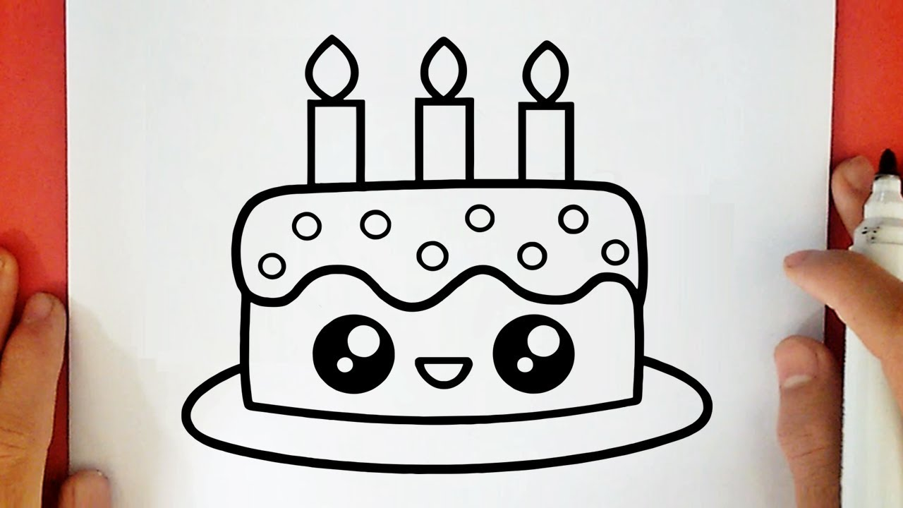 How To Draw A Cute Birthday Cake Youtube