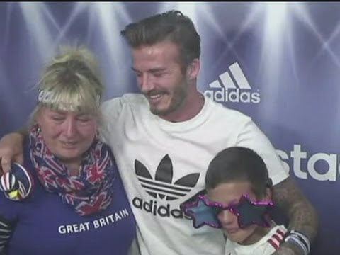 David Beckham surprises Team GB fans in photo booth