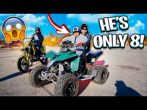 TEACHING 8 YEAR OLD KID HOW TO RIDE A QUAD ! *MUST WATCH* | BRAAP VLOGS