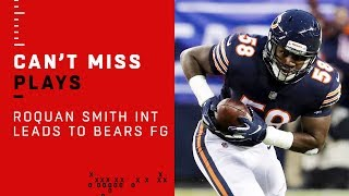 Roquan Smith Picks Off Nick Foles Leading to Bears FG