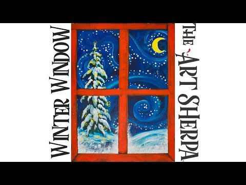 How To Paint Acrylic Winter Window Landscape Live
