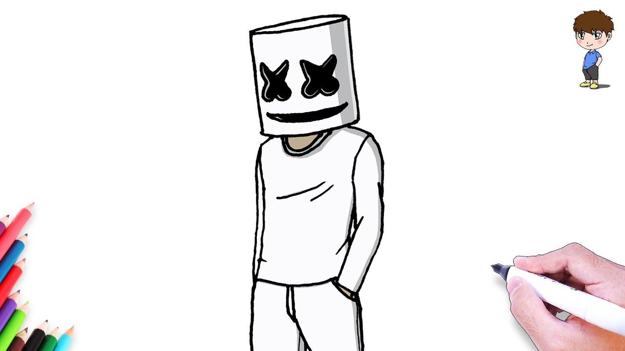 Como Dibujar A Marshmello Paso A Paso Dibujos Para Dibujar Dibujos Faciles