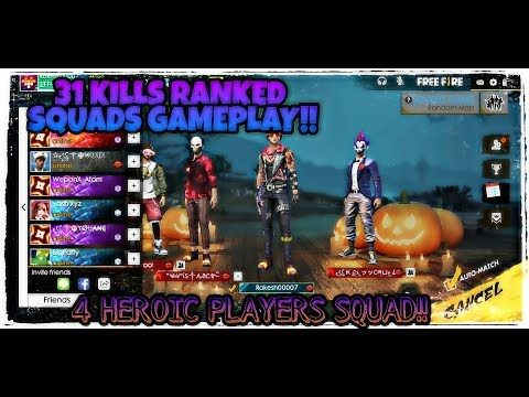 RANKED SQUADS TOTAL 31 KILLS GAMEPLAY !! Free Fire Battlegrounds !!!