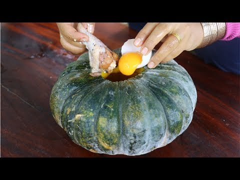 Awesome Cooking Chicken Wing With Duck Egg In Pumpkin Dilecious Cook Recipe – Eating Show No Talking