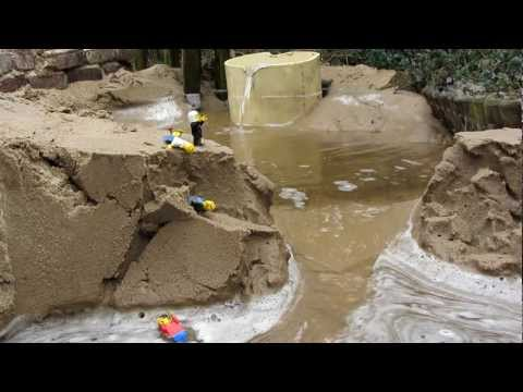 Dam Breach Lego men in danger: raw footage