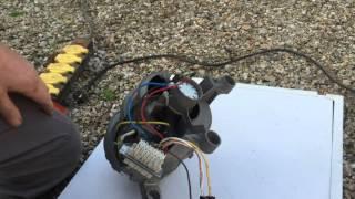 essai du moteur de lave linge après recherche des branchements