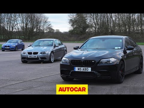 Affordable BMW M-car drag race | E92 M3 vs F10 M5 vs Birds M135i | Autocar
