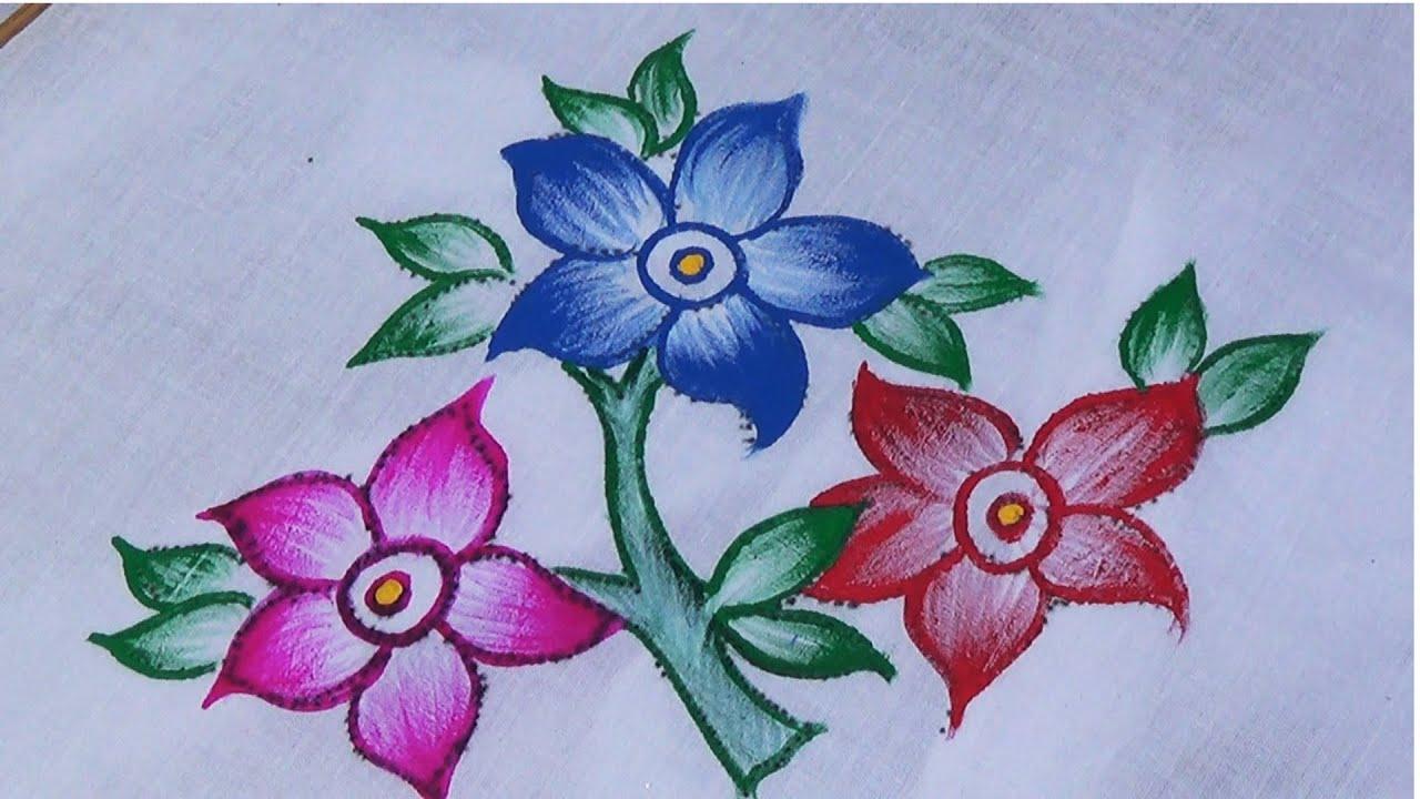 Fabric Painting/Single Shade Sari Design