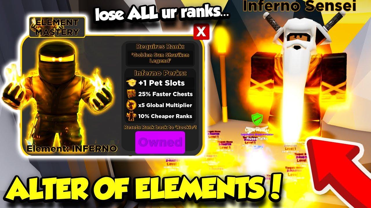 Ninja Legends On Roblox Mastering The Elements In The Alter Of Elements Ninja Legends