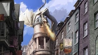 Universal Orlando Diagon Alley Concept Art - Harry Potter Escape from Gringotts, Hogwarts Express