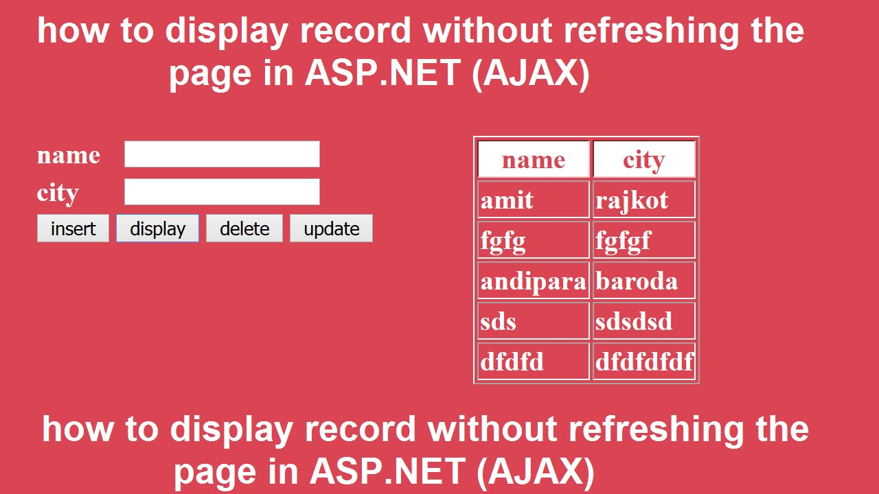how to display record without refreshing the page in ASP NET