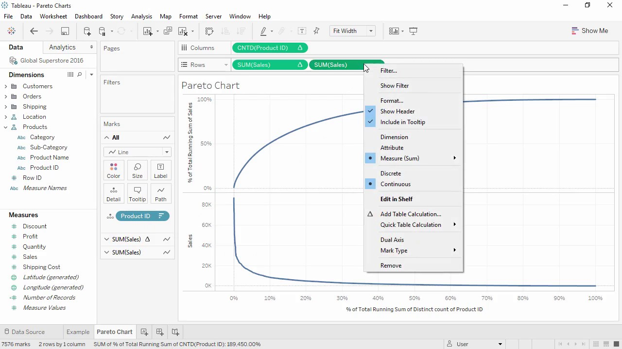 How To Create Pareto Charts In Tableau Youtube