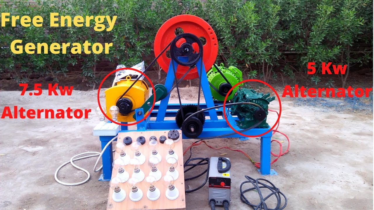 Make Free Energy Generator From 7.5 kw and 5kw Alternator with 3Hp Electric Motor Free Electricity