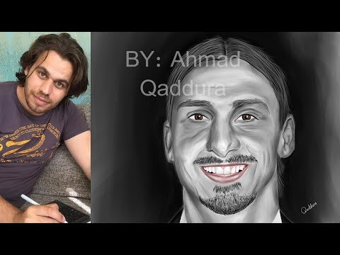 Drawing Zlatan Ibrahimovic رسم لاعب كرة القدم زلاتان