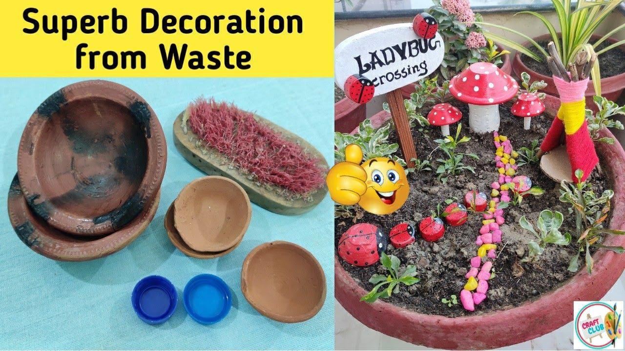 Waste Diya Reuse Idea Best Out Of Waste Diya Diy Garden Decor 2 Youtube