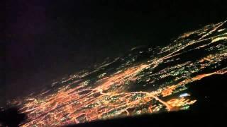 Посадка в ночной Москве. Вид из кабины пилота.