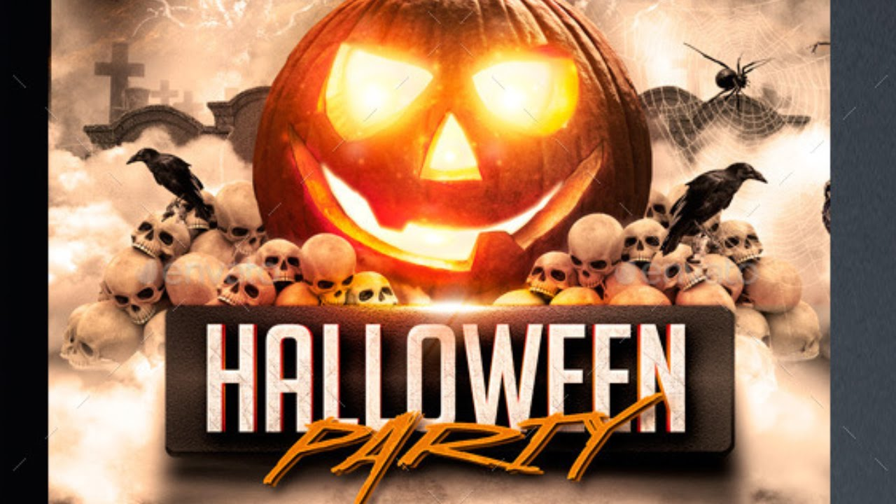 Halloween Party Flyer Template Free For Photoshope Youtube
