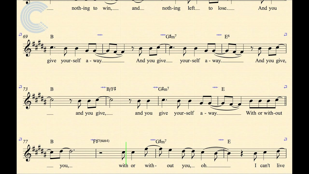Alto sax with or without you u2 sheet music chords alto sax with or without you u2 sheet music chords vocals youtube hexwebz Image collections