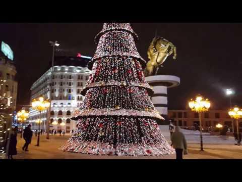 The Square in Skopje.....snow & lights!