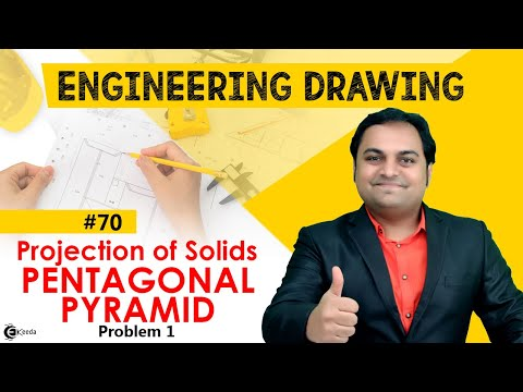 Pentagonal Pyramid - Problem 1 - Projection of Solids - Engineering Drawing - First Year Engg